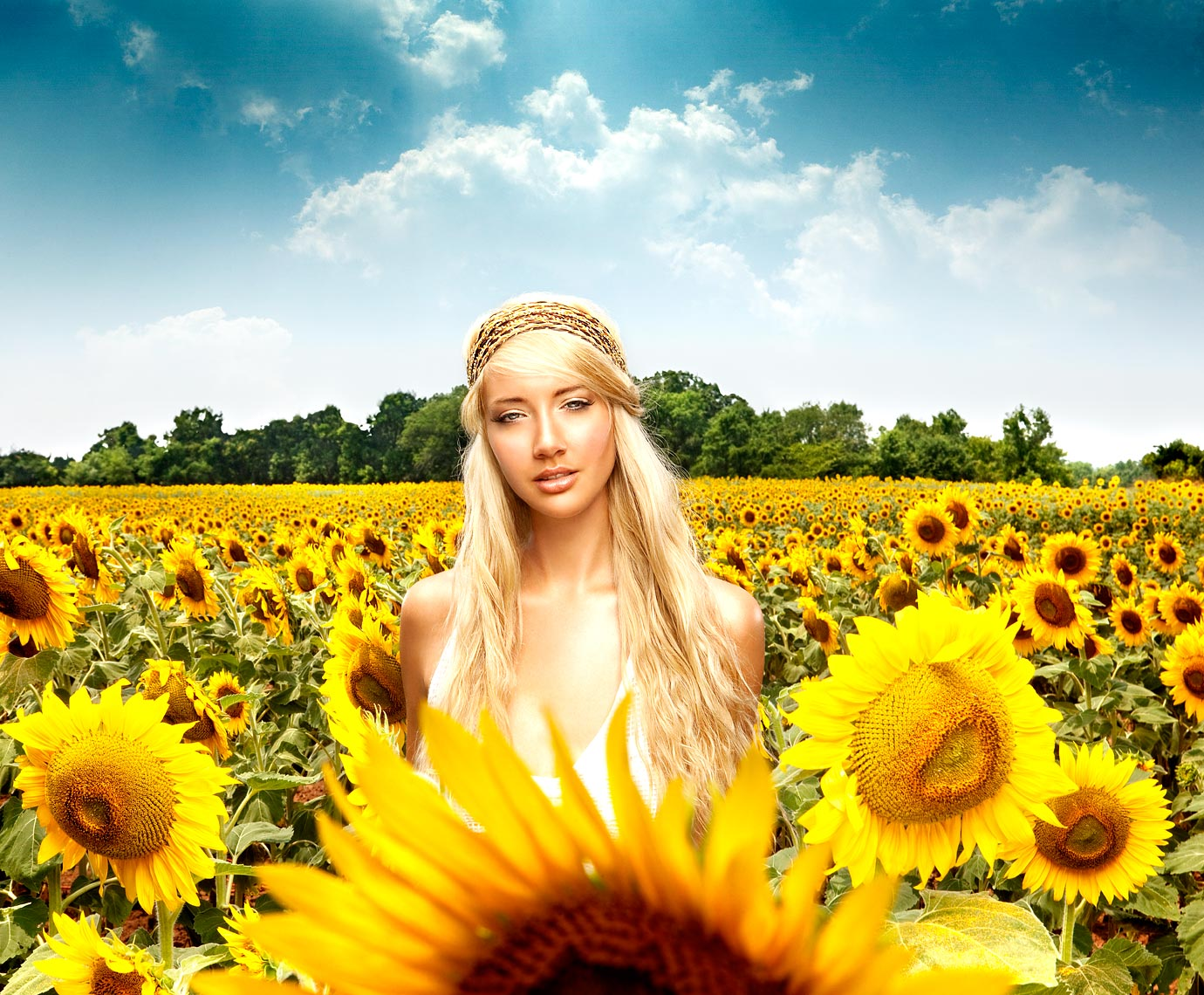 Sunflower Field Girl Portrait